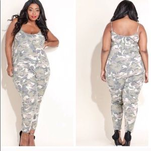 Pants - Distressed camo romper plus size 3x